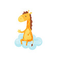 cute sleepy little giraffe sitting on a cloud vector image vector image