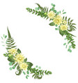 delicate floral angular frame with dahlias fern vector image