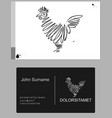 emblem icon drawn rooster vector image