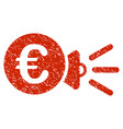 euro megaphone ads icon grunge watermark vector image