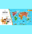 flat fauna world map composition vector image vector image