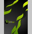 green black abstract wavy corporate background vector image vector image