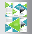Green blue business trifold Leaflet Brochure set vector image vector image