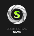 green letter s logo symbol in the silver circle vector image