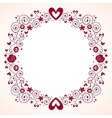 hearts and flowers frame 3 vector image vector image