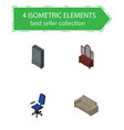 isometric furnishing set of drawer couch office vector image vector image