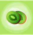 kiwi slice chinese gooseberry with half cross vector image vector image