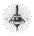 knife in heart tattoo with ribbon and rays vector image vector image