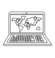 laptop showing map in black and white vector image vector image