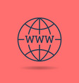 linear icon of www on globe vector image vector image