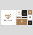 love and law firm logo design and business card vector image vector image