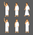 male activity figure hajj pilgrims character set vector image vector image