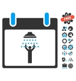 Man Shower Calendar Day Icon With Bonus vector image vector image