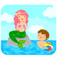 mermaid and boy vector image vector image