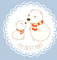 My best mom background with cute polar bear vector image
