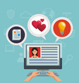 navigating on social media vector image vector image