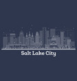 outline salt lake city utah city skyline with vector image