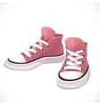 Pink sports sneakers with white laces vector image vector image
