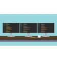 programmer workdesk triple monitor with vector image vector image