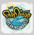 san diego california surfing surf design h vector image vector image