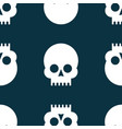 seamless pattern white skulls on a black vector image