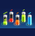 set of battery charge isometric icon accumulator vector image vector image
