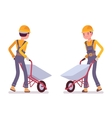 Set of workers with wheelbarrows vector image