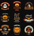 set retro vintage halloween badges labels vector image