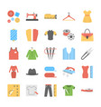 sewing flat icons set vector image