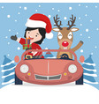 small girl in santa claus and reindeer with red vector image vector image