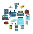 supermarket icons set flat ctyle vector image