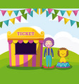 tent sale ticket with clown and cute lion vector image
