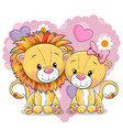 Two lions on a background of heart