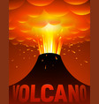 volcano eruption cartoon vector image vector image
