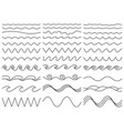 wavy lines wiggly border curved sea wave and vector image vector image