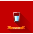 with a glass of water in flat design style with vector image