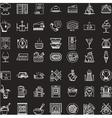 White line icons set for restaurant vector image