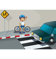A boy with a bike standing near the pedestrian vector image vector image
