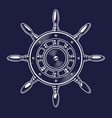 a ships wheel on dark background vector image vector image