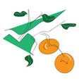 abstract of two oranges on branch with green vector image