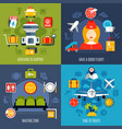 air travel 4 icons concept vector image