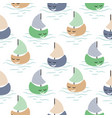 Boat cute baby seamless pattern