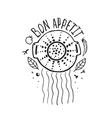bon appetit pasta design with colander vector image
