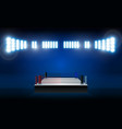 boxing ring arena and spotlight floodlights design vector image vector image