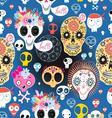 bright festive pattern of funny skulls vector image
