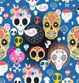 bright festive pattern of funny skulls vector image vector image