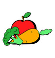carrot broccoli and apple icon icon cartoon vector image