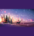 christmas card with reindeer winter sunny vector image vector image