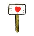 comic cartoon love heart sign post vector image vector image