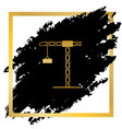 construction crane sign golden icon at vector image vector image
